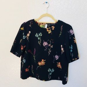 Zara Short-Sleeve Floral Blouse